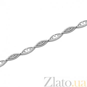 Золотой браслет Переплетение в белом цвете с цирконием 000022636