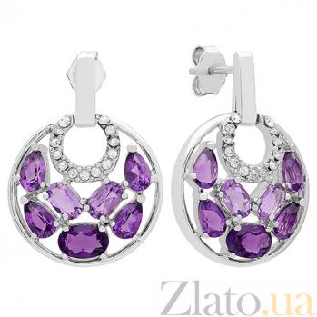 Серебряные серьги с аметистами и кристаллами Swarovski  Хайди 3С714-0028