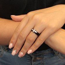 Керамическое кольцо Крест с фианитами в родированном касте
