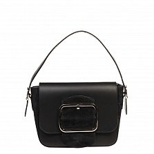 Кожаный клатч 6563 в черном цвете с короткой ручкой, ремнем на плечо и декоративной пряжкой