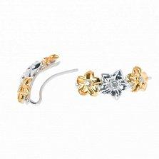 Серебряные серьги-каффы Цветочная аллея с белыми фианитами