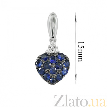 Золотой подвес с сапфирами и бриллиантами Сердечко 000026753