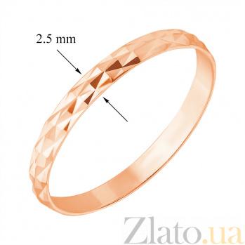 Золотое обручальное кольцо Энергия любви в красном цвете с алмазной гранью 1097/01/0