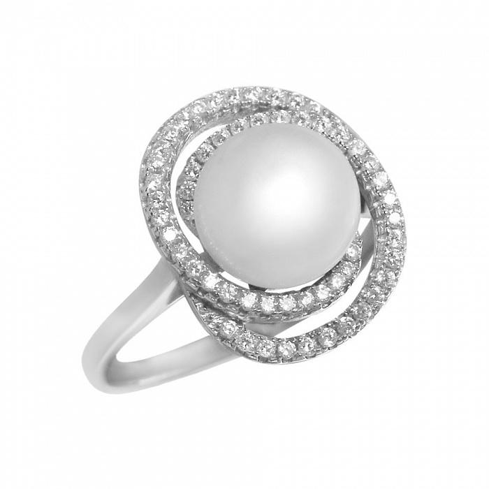 Серебряное кольцо Ундина с жемчугом и фианитами 000082027