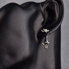 Серебряные серьги-джекеты Вредная кошечка с родированной поверхностью