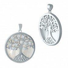 Серебряная подвеска Древо жизни с перламутром и фианитами