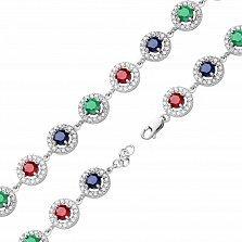 Серебряный браслет Джулия с наноизумрудами, рубинами, сапфирами и фианитами