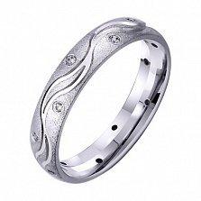 Золотое обручальное кольцо Волны счастья с фианитами