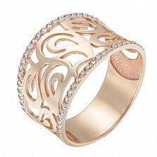 Золотое кольцо Holly в красном цвете с фианитами
