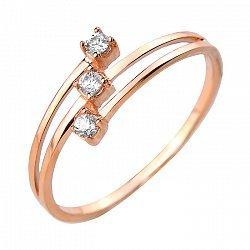 Кольцо из красного золота с фианитами 000106111