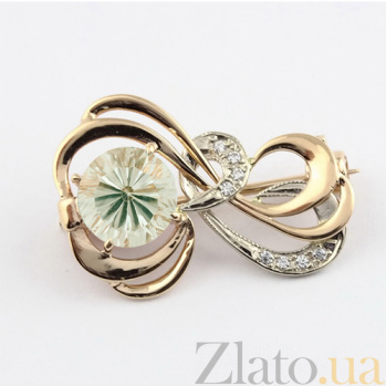 Золотая брошь с зеленым аметистом и фианитами Апервинд 000029441
