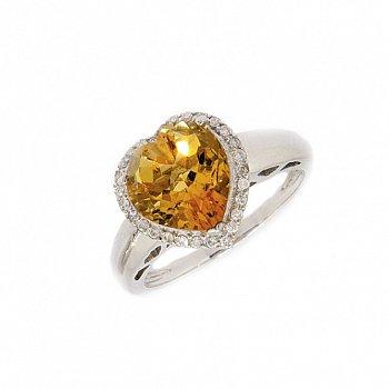 Кольцо в белом золоте с цитрином и бриллиантами 000019013
