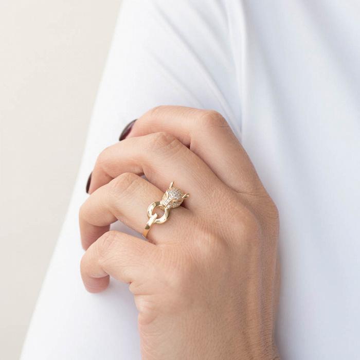 Золотой перстень Кошечка в желтом цвете в стиле под Пантеру от Картье 000082405