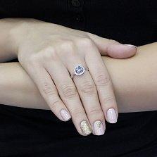 Серебряное кольцо Римма с голубым кварцем и фианитами