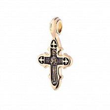 Серебряный черненый крестик Благословение в позолоте с Богородицей на тыльной стороне