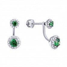Серебряные пуссеты-джекеты Неженка с зеленым и белым цирконием
