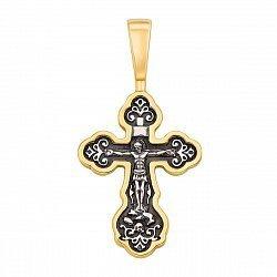 Серебряный крестик с позолотой и чернением 000125239