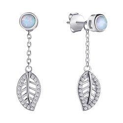 Серебряные серьги-подвески с опалом и фианитами 000139604