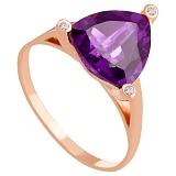 Золотое кольцо с аметистом и фианитами Хлоя