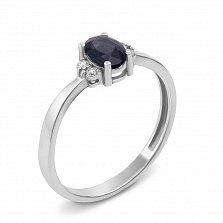 Кольцо из белого золота с сапфиром и бриллиантами 000131208