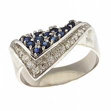 Серебряное кольцо с бриллиантами и сапфирами Косынка