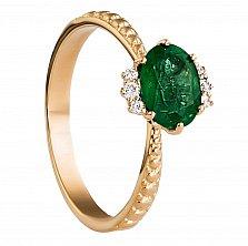 Золотое кольцо Итака с изумрудом и бриллиантами