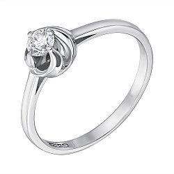 Помолвочное кольцо в белом золоте с бриллиантом в закрученном касте 000070642