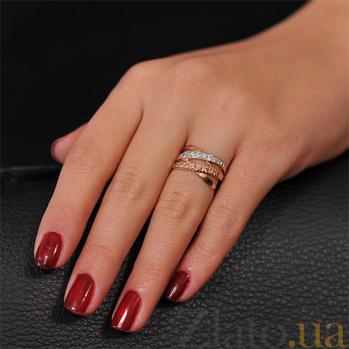 Кольцо Золотые плетения с фианитами цвета шампань EDM--КД020Ш