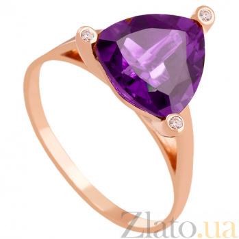 Золотое кольцо с аметистом и фианитами Хлоя 000029219