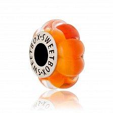 Серебряный шарм Апельсиновый мусс с муранским стеклом
