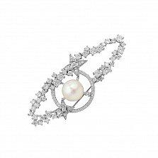 Серебряная брошь Галактика с жемчугом и фианитами