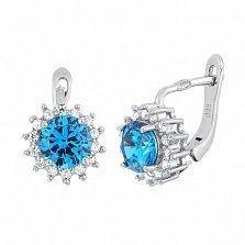 Серебряные сережки с голубым цирконием Джаухар