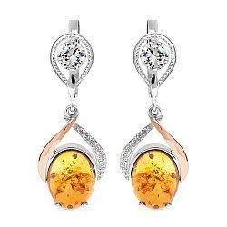 Серебряные родированные серьги-подвески с золотыми накладками, янтарем и фианитами 000116730