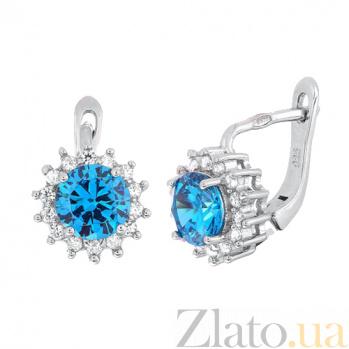 Серебряные сережки с голубым цирконием Джаухар SLX--СК2ФЛТ/475