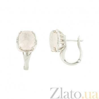 Золотые серьги с бриллиантами и розовым кварцем Принцесса 1С034-0882
