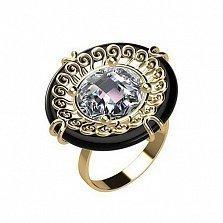 Кольцо в красном золоте Эльвира с агатом и фианитом