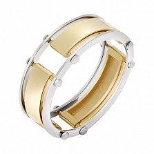 Золотой перстень Антей в белом и желтом цвете