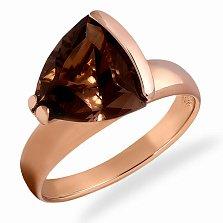 Золотое кольцо Лира в красном цвете с кварцем
