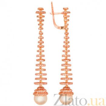 Серьги из красного золота с жемчугом и цирконием Дора VLT--ТТ2337-2