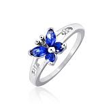 Серебряное кольцо с фианитами Синий мотылек