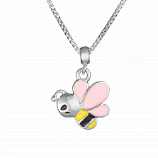 Детское серебряное колье Пчелка с эмалью