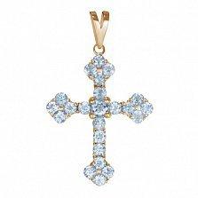 Золотой крестик Мирелла с голубыми топазами
