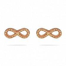 Золотые серьги-пуссеты Знаки бесконечности в минималистичном дизайне