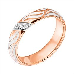 Обручальное кольцо в комбинированном цвете золота с бриллиантами и белой эмалью 000000451