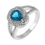 Серебряное кольцо с топазом и фианитами Эстурой