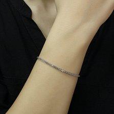 Серебряный браслет Косичка объемного плетения с родием, 2мм