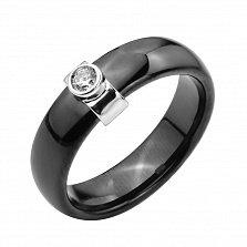 Кольцо из черной керамики и серебра с фианитом 000131775