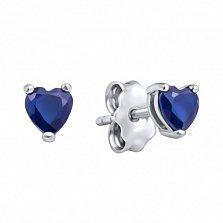 Серебряные серьги-пуссеты Сердца с синими кристаллами Swarovski