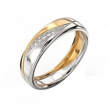 Золотое кольцо Слияние в комбинированном цвете с бриллиантами