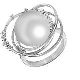 Кольцо из белого золота Лея с бриллиантами и жемчугом